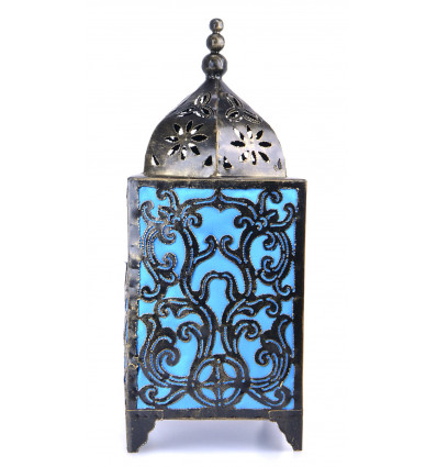 Living room lamp handcrafted wrought iron, deco-baroque blue turquoise.