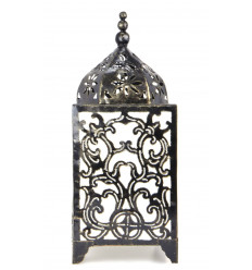 Original lamp in wrought iron, carved H45cm baroque motifs.