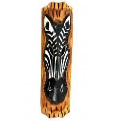 Décoration murale zèbre en bois thème savane africaine ethnique.