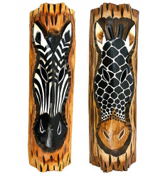 Wall decor zebra giraffe wood style african savannah safari.