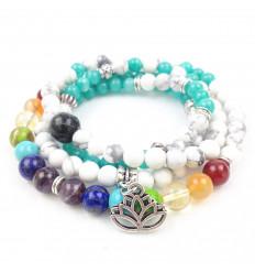 Bracelet multirang 7 chakras - Mala tibetan Howlite and stones + symbol lotus flower