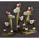 3 rennes du Père Noël. Déco artisanale en bois.