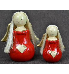2 angels wood Dress red Deco Christmas craft.