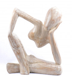 buy wooden statue style of rodin's thinker cheap, craft.
