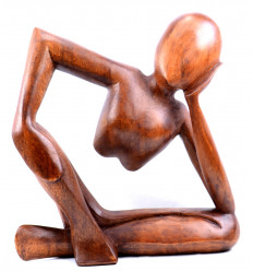 "Statuette abstraite ""Penseur"" h30cm - Bois marron massif sculpté main"
