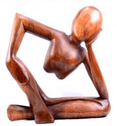 Statua del pensatore africano scultura di rodin artigianali in legno. Deco moderno.