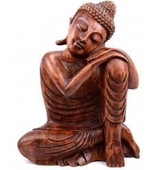 scultura di buddha pensatore di legno a buon mercato