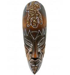 Masque motif gecko en bois 30cm - décoration ethnique chic