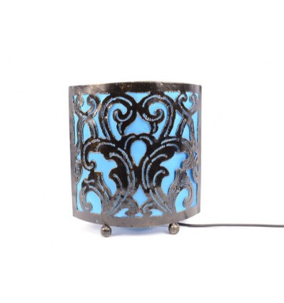 Bedside lamp moroccan style oriental wrought iron turquoise fabric