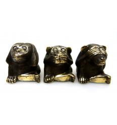 Les singes de la sagesse. 3 Statuettes déco en bronze.