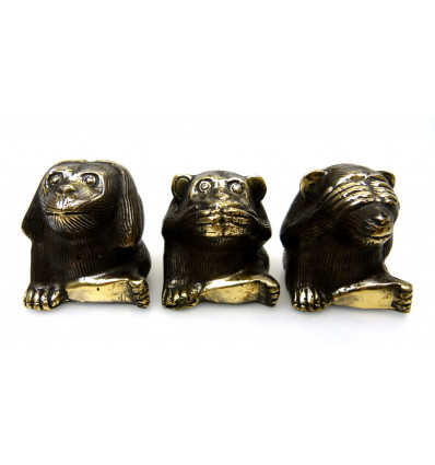 The monkeys of the wisdom. 3 Statues deco bronze.