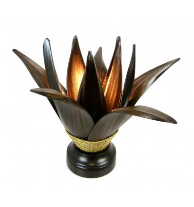 Lampe de salon ethnique feuille de cocotier naturelle artisanale .