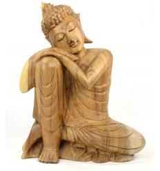 Statue de Bouddha assis h40cm - Bois massif brut sculpté main.