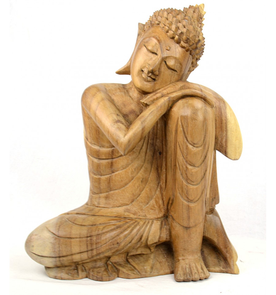 achat statue sculpture bouddha penseur en bois artisanat de bali. Black Bedroom Furniture Sets. Home Design Ideas