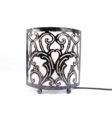 Lampe de chevet style marocain oriental fer forgé tissu blanc