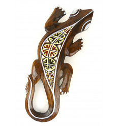 Lizard motif batik - wall decoration in wood 30cm