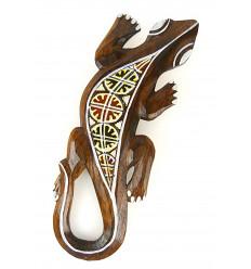 Lizard motif batik - wall decoration in wood 30cm