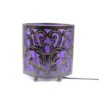 Bedside lamp moroccan style oriental wrought iron fabric purple
