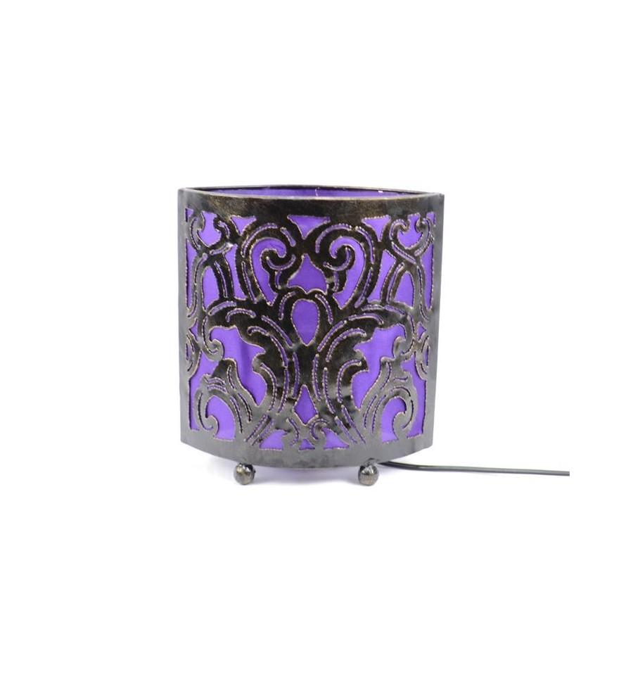 Lampe De Chevet Style Marocain Oriental Fer Forge Tissu Violet Ebay