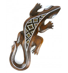 Salamander motif batik - wall decoration in wood 30cm