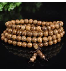 Bracelet Tibétain, Mala 108 perles de bois + noeud sans fin.