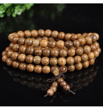Bracelet Tibétain, Mala 108 perles de bois + noeud sans fin. Livraison offerte !