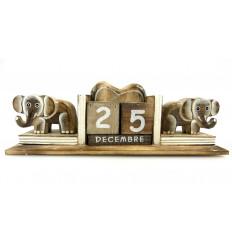 Calendrier perpétuel 2 statuettes éléphant en bois - Artisanat de Bali