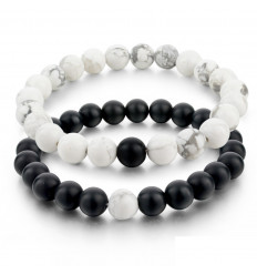 Bracelets de distance / couples - Agate noire et Howlite blanche - Livraison offerte !!!