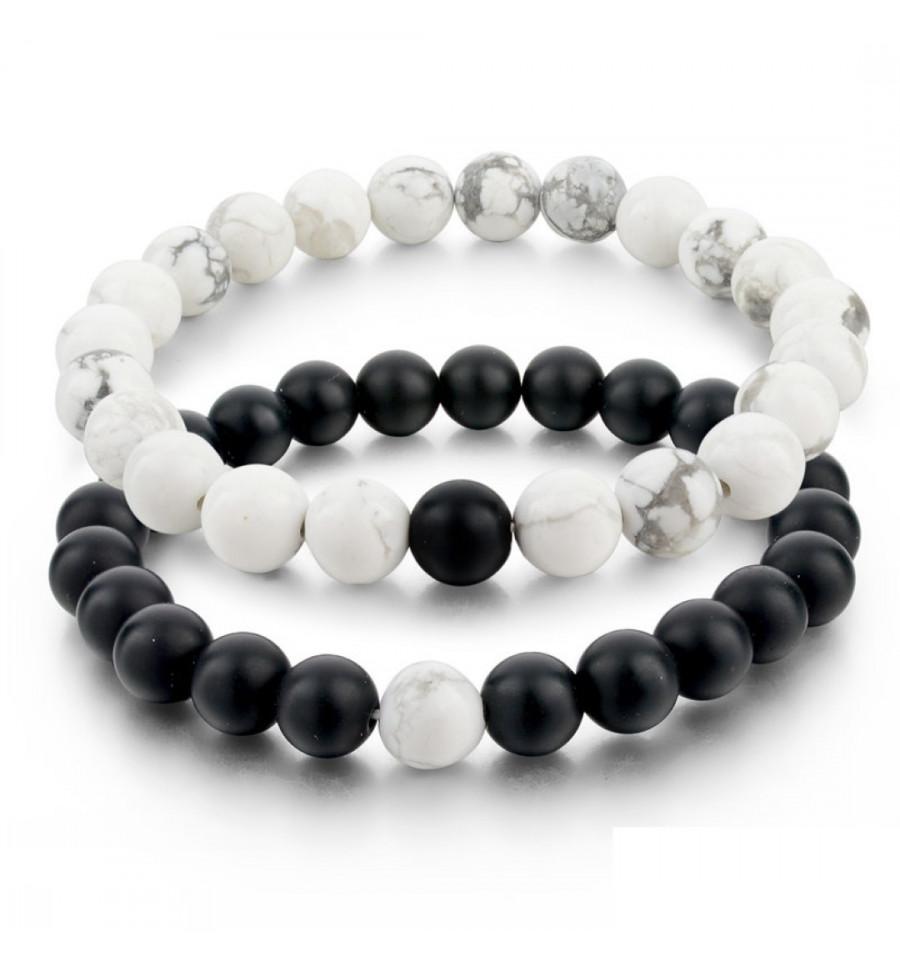 Bracelets de distance / couples , Agate noire et Howlite blanche ,  Livraison offerte !