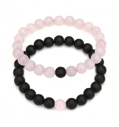 Bracelets de distance / d'amoureux - Agate noire et Quartz rose - Livraison offerte !!!