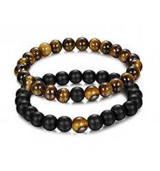 Bracelets de distance - Porte-bonheur - Agate noire et Oeil de tigre - Livraison offerte !!!