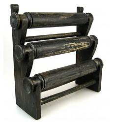 """Porta bracciali e orologi / Display gioielli 3 anelli in legno finitura nero """"vintage"""""""