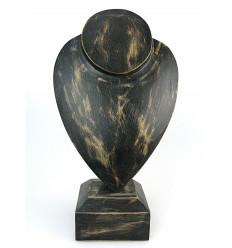 """Busto display collane a piedi, H 30 cm - in legno massello finitura nero """"vintage"""""""