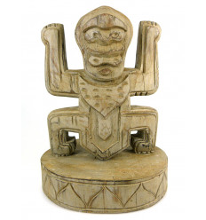 Totem statue trophy koh lanta in wood, deco-style pre-columbian.