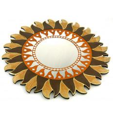 Mirror round shape Sun, diameter 40cm. Deco ethnic.