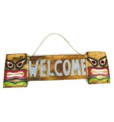 "Plaque de porte ""Welcome"" style Tiki en bois 50x15cm"