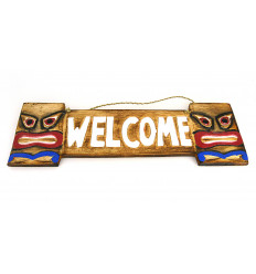 Wooden door welcome style tiki, inside or outside.