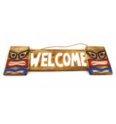 "Plate-door ""Welcome"" style Tiki Hawaii wood 50x15cm"