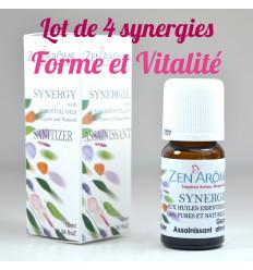 Lot de 4 synergies aux huiles essentielles Forme et Vitalité