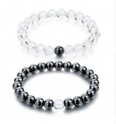 Bracelets de distance / couples - Hématite et Cristal de roche - Livraison offerte !!!