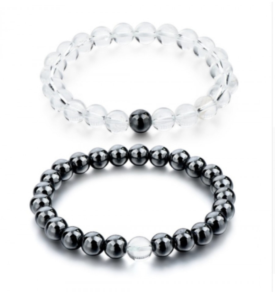 601dae9c1a Bracelets of distance / couples - Hematite and rock Crystal - the Delivery  is free !