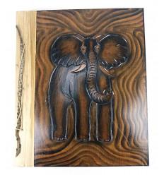 Grand album photo 160 vues, en bois motif éléphant.