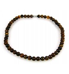 Collier ras de cou oeil de tigre porte-bonheur protection perles 8mm.