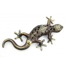 Statuette salamandre gecko margouillat en bronze. Artisanat de Bali.