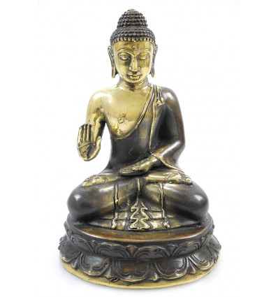 Statue Bouddha protection assis en bronze. Décoration artisanat Asie.