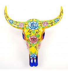 Crâne de Buffle. Décoration murale mexicaine, peint à la main.
