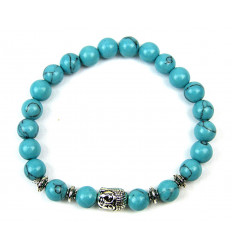 Bracelet Howlite blue + pearl Buddha