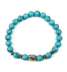 Bracelet en Howlite bleue + perle Bouddha. Livraison gratuite.