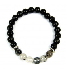 Bracelet en Onyx noir & Quartz rutilé naturels
