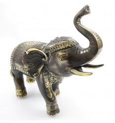 Statue déco éléphant trompe en l'air porte bonheur. Bronze artisanal.